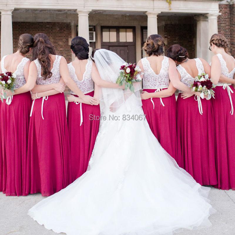 Hermosa Vestidos Rojos De La Dama De Honor Cresta - Ideas de Vestido ...