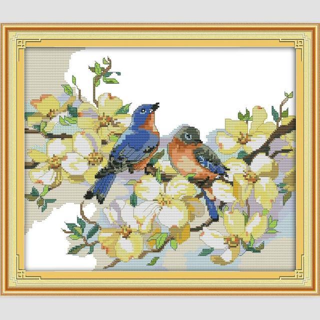 Aves Flores Patrones Dmc De Punto De Cruz Establece Costura Bordado