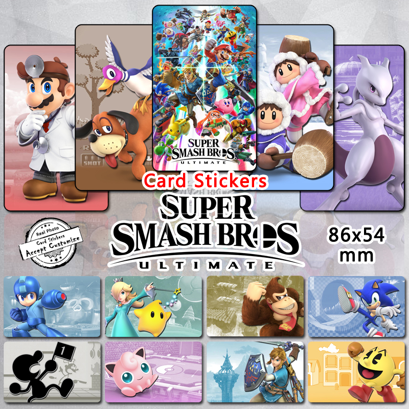 все цены на 65pcs Super Smash Bros Characters Stickers Classic Crossover Fighting Game Mario Pikachu Ridley Mega Man Glossy Sticker 2018 New онлайн