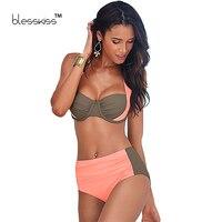 Blesskiss High Waist Swimsuit Women Bikinis 2016 Hot Halter Underwire Vintage Push Up Plus Size Swimwear