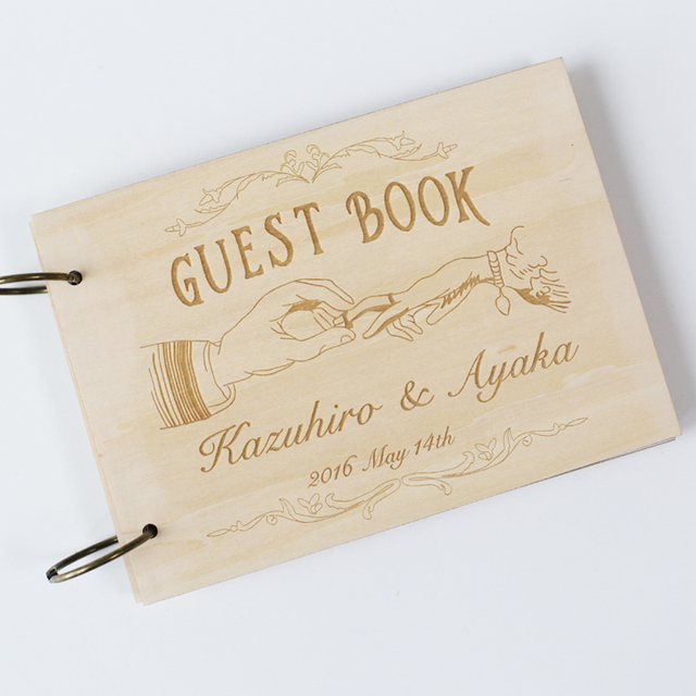 2016 Retro Wedding Guestbook Guest Book Customized Date And Names Wood