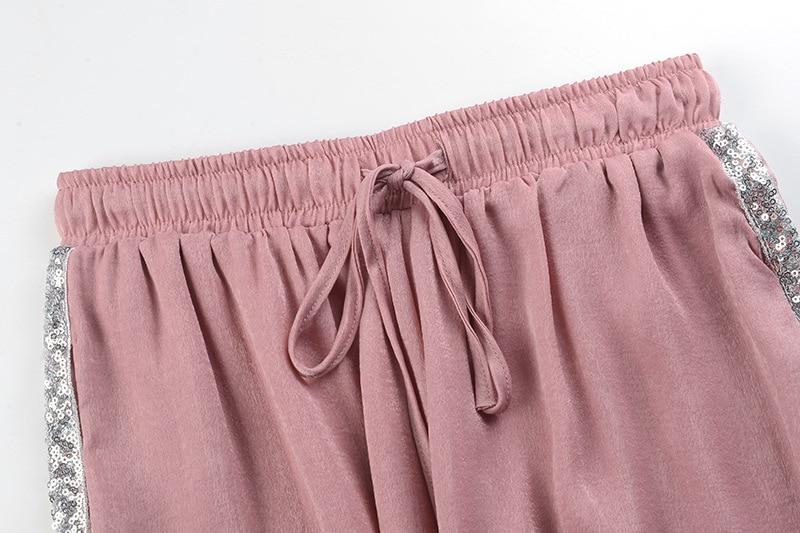 Streetwear Coreano Side Verano Alta Black Pantalones 2018 Slim Nuevo Cintura Gruiiceen Rebordear rosado Harem Bf6IpI