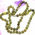 10 мм длинной цепью ожерелье природный желтый дракон агат камень круглый бисер винтаж стиль высокий класс элегантные ювелирные изделия 36 inch B3208