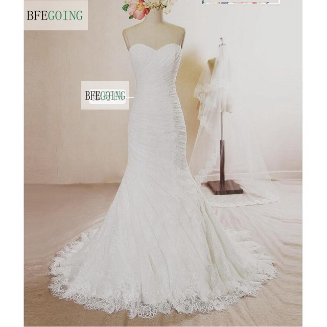 4592bd6551108 White Lace Floor-Length Sweetheart Mermaid Trumpet Wedding dresses Chapel  Train Lace up Bridal Gown Custom made