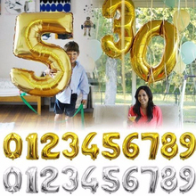 Big 32inch Gold Silver Number Foil Balloons Digit Air Ballon Wedding Decoration Baby Boy Girl First Birthday Party Supplies