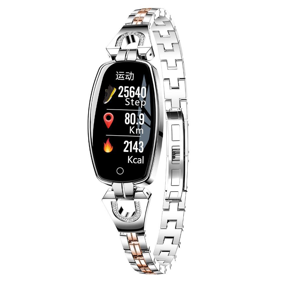 Bracelet intelligent élégant H8 Bracelet pour femmes Tracker de Fitness moniteur de fréquence cardiaque montre étanche intelligente cadeau pour fille
