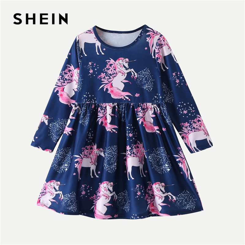 SHEIN Animal Print Party Dress Toddler Girls Clothes 2019 Spring Korean Fashion Cotton Long Sleeve A Line Casual Short Dress kids girls flamingo a line dress bady girl mini dress cotton casual short sleeve striped print dress kid robe children vestidos
