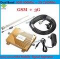 Conjunto completo GSM 900 Mhz + 3G W-CDMA 2100 MHz Dual Band GSM 3G Repetidor de Sinal De Reforço, 2G 3G GSM Telefone Celular Repetidor de Sinal de Antena