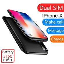 Для iPhone X/XS/XR ультратонкие резиновой рамкой Dual SIM двойной Bluetooth Adaper долгого ожидания 7 дней С 3150 мАч Мощность банк