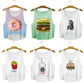 New 2017 Women Food Printed Crop Tops Cute Girl Sexy Cropped Tank Top Summer Harajuku Style Camisole Youth Elastic Vest