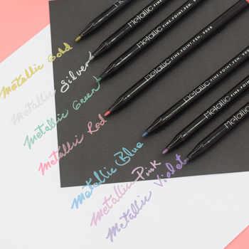8 pièces stylo marqueur de couleur métallique set stylos à pointe Fine pour calligraphie peinture design dessin art école étudiant fournitures A6653