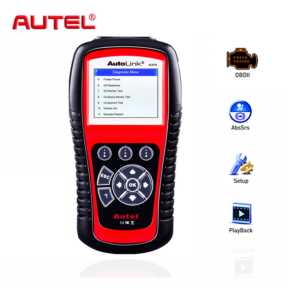 Autel OBD2 сканер Автоссылка AL619 автомобиля диагностический инструмент автомобильной сканера двигателя, ABS, SRS, подушка безопасности Авто Code Reader