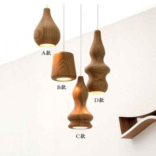 Japanese Solid Wood Lamp Light Pendant Chandelier for Dining Study Kitchen Island Living Room Office Home
