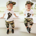 2016 Hot Sale Fashion boys printed shoes short sleeve t shirt camouflage shorts set hat summer children's casual clothes 16J03