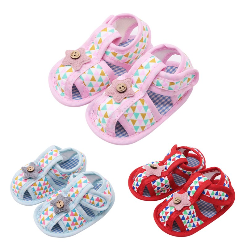 Summer Canvas Baby Shoes Baby Girl Hollow Plaid Soft-Soled Princess Crib Shoes Star Heart Floral Insert Prewalkers