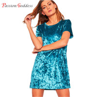 Chinese Large Size 3XL 2016 Women Vintage Gold Velvet Dress Short Sleeve Casual T Shirt Dress