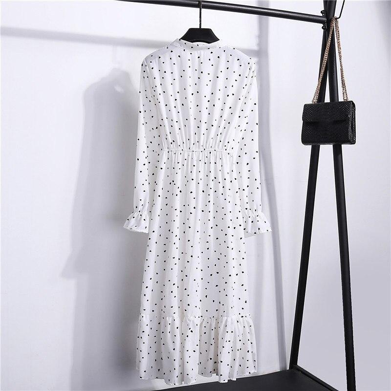 Summer Korean Chiffon Women Dress Elegant Ladies Vintage Long Dress Boho Floral Office Long Sleeve Vestidos Clothing 5LYQ003 57
