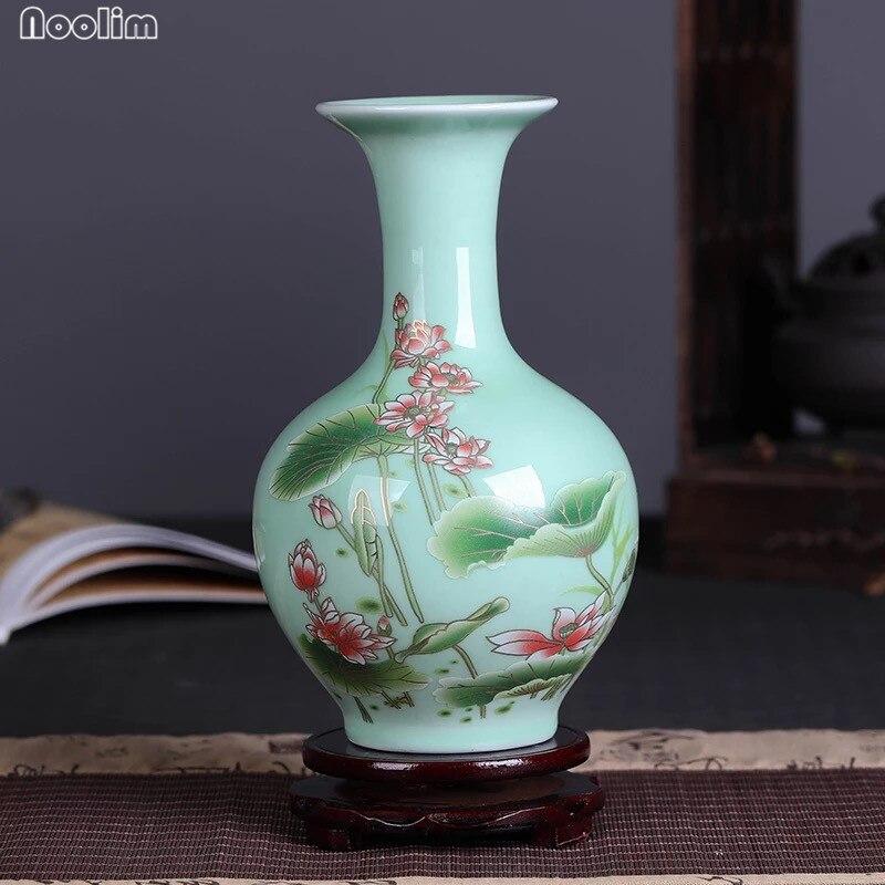 NOOLIM Jingdezhen Ceramic Vase Vintage Chinese Celadon Vase Hand Painted Lotus Flower Vase With Base Home Decoration Ornament vase