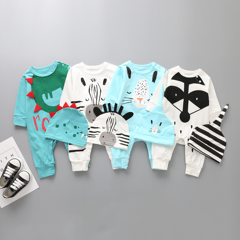 Dinasour Roar Baby Rompers Lovely Animal Fox Zebra Print Newborn baby Cotton Jumpsuits sets Long Sleeve Autumn overall with Hat ...
