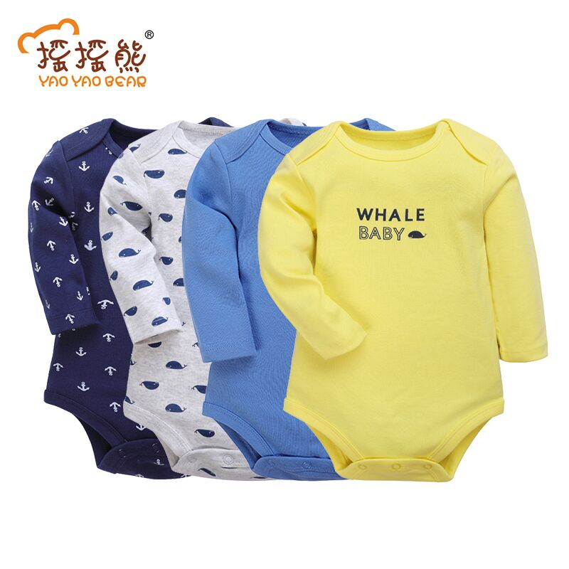 4Pcs/Lot Baby Boy Girl Bodysuits Set Long Sleeves Clothing Cotton Body Clothes Newborn Jumpsuit