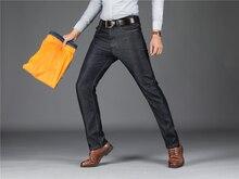 2019 New Winter Fleece Men Jeans Stretch Flockin Jeans Slim Fit Plus Size to 40 Big Men Jeans Pants Keep Warm Best price