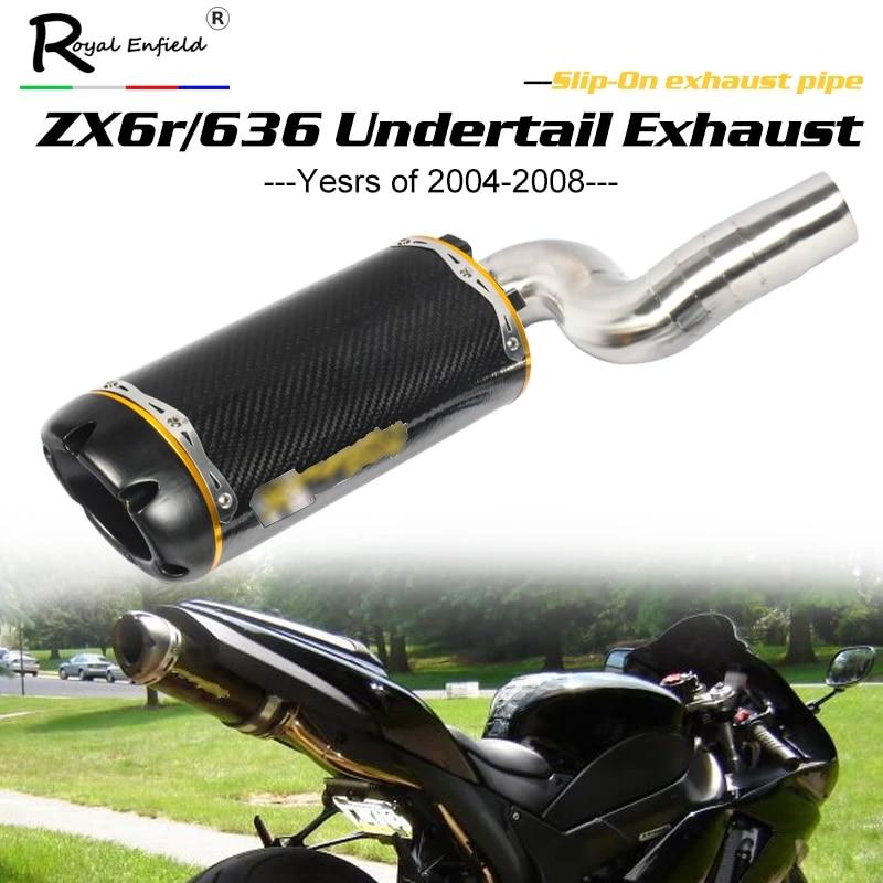 zx6r zx636 motorcycle exhaust carbon fiber underseat muffler mid pipe slip on for kawasaki zx6r zx636 2004 2005 2006 2007 2008