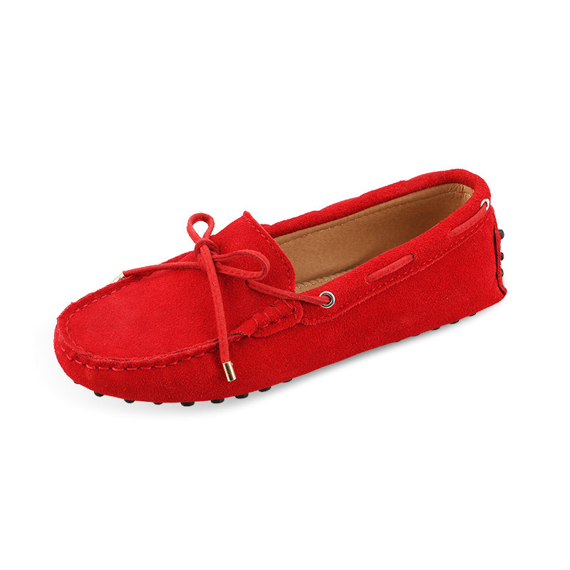 US5 9 Leather suede Comfort Slip On ribbon flat loafer ballerina Women Shoes Casual womensdriving car