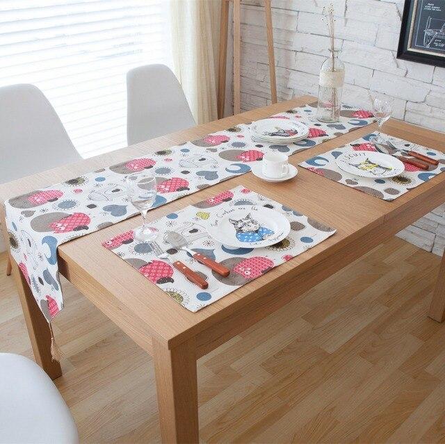 SunnyRain 3/5/7-Pieces Linen Cotton Owl Table Runner And Placemat Sets & SunnyRain 3/5/7 Pieces Linen Cotton Owl Table Runner And Placemat ...