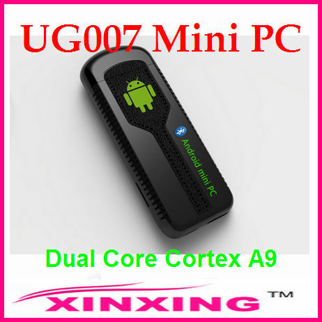 [Factory In Stock] New Black and White UG007 Mini PC Android 4.1.1 TV Box Bluetooth Dual Core 1G 8G HDMI Free shipping