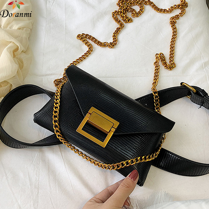 DORANMI Leather Waist Bags Women's Fanny Pack 2019 Metal Chain Strap Crossbody Nerka Female Belt Bag Square Waist Pack DJB523