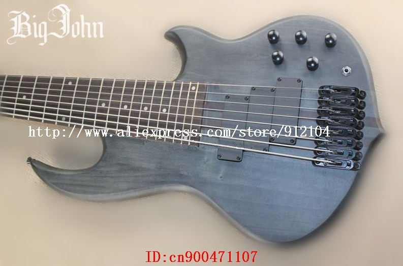 Livraison gratuite nouveau Big John the 8 cordes cou à travers le corps guitare basse électrique en gris avec corps en acajou + boîte en mousse JT-58
