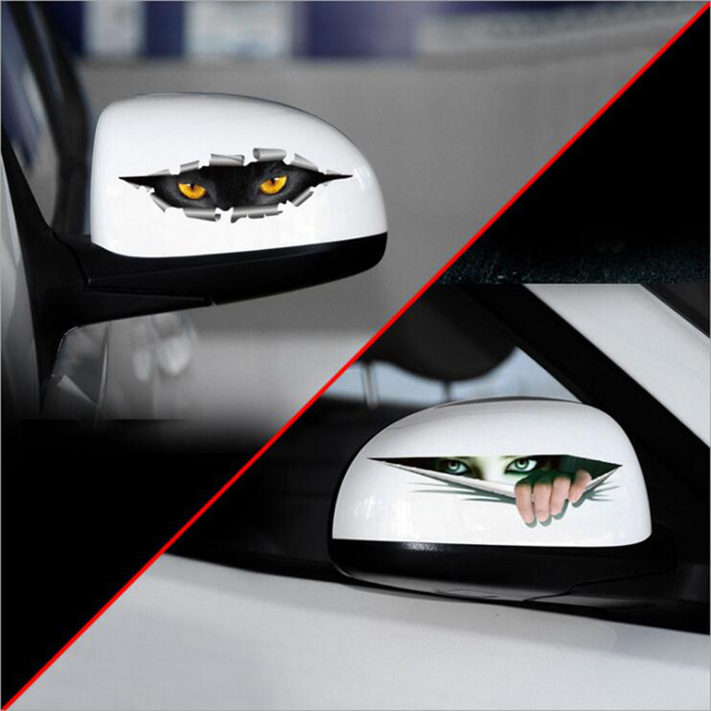 Car styling cat eye ghosts peeping 3d car rearview mirror sticker decal for vw skoda