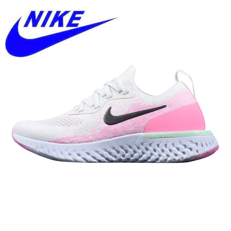 0408f7779d1b8 Nike Epic React Flyknit Women's Running Shoes, Shock-Absorbing Breathable  Wear-resistant Lightweight, White & Pink AQ0067 007