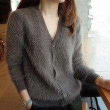 JSXDHK новейшая мода женский норковый кашемировый свитер кардиганы Корейский Зимний серый толстый однобортный вязаный сексуальный жакет с v-образным вырезом