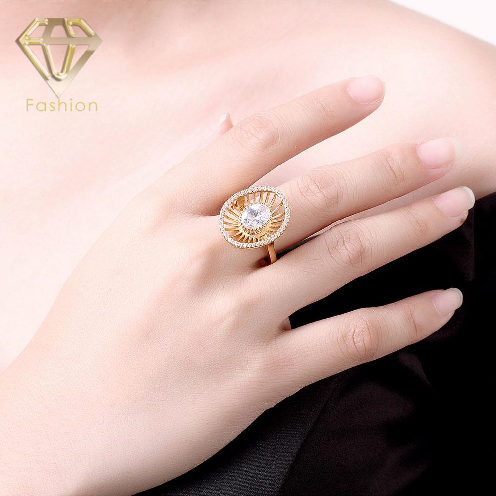 Gold Ring Designs Trendy Gold Color Round Shape Micro Pave Cubic ...