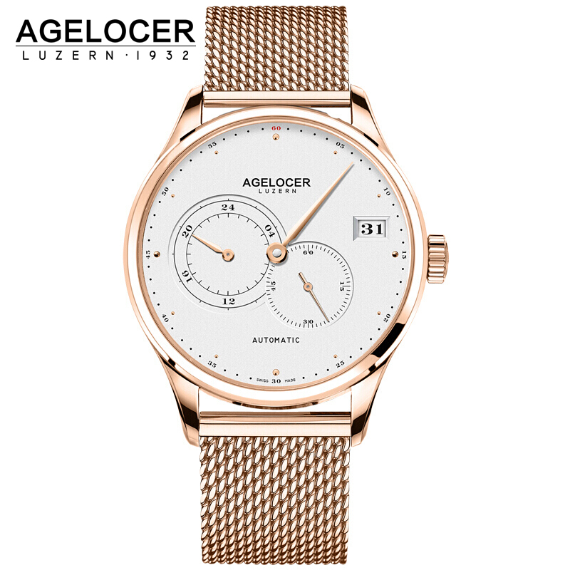 AGELOCER Swiss Self Wind Automatic Mechanical Watches Men Gold Plated 316L Stainless Steel Watch Waterproof Relogio Masculino business men mechanical wrist watches automatic self wind stainless steel power watch for male reloj hombre silver with gold