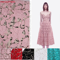 Wide 120cm* 1yard Good ! Embroidered Lace Fabric Hollow Mesh Cotton Fabric Lace Sewing Material DIY Fashion Wedding Dress Lace