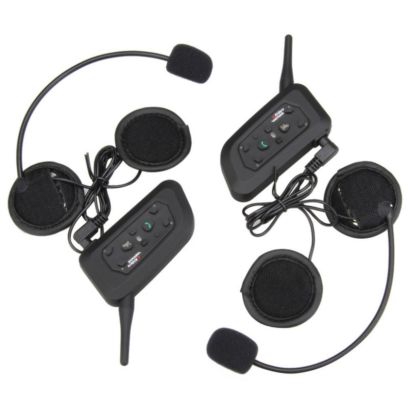 1200M Intercom One Pair Motorcycle Intercom Bluetooth Stereo Music 3.5mm Audio Input Helmet Headset 500 mAh Polymer Li Battery