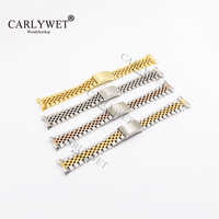 CARLYWET 19 20 22mm Two Tone Silver Hollow Curved End Solid Screw Links Watch Band Strap Old Style Jubilee Bracelet