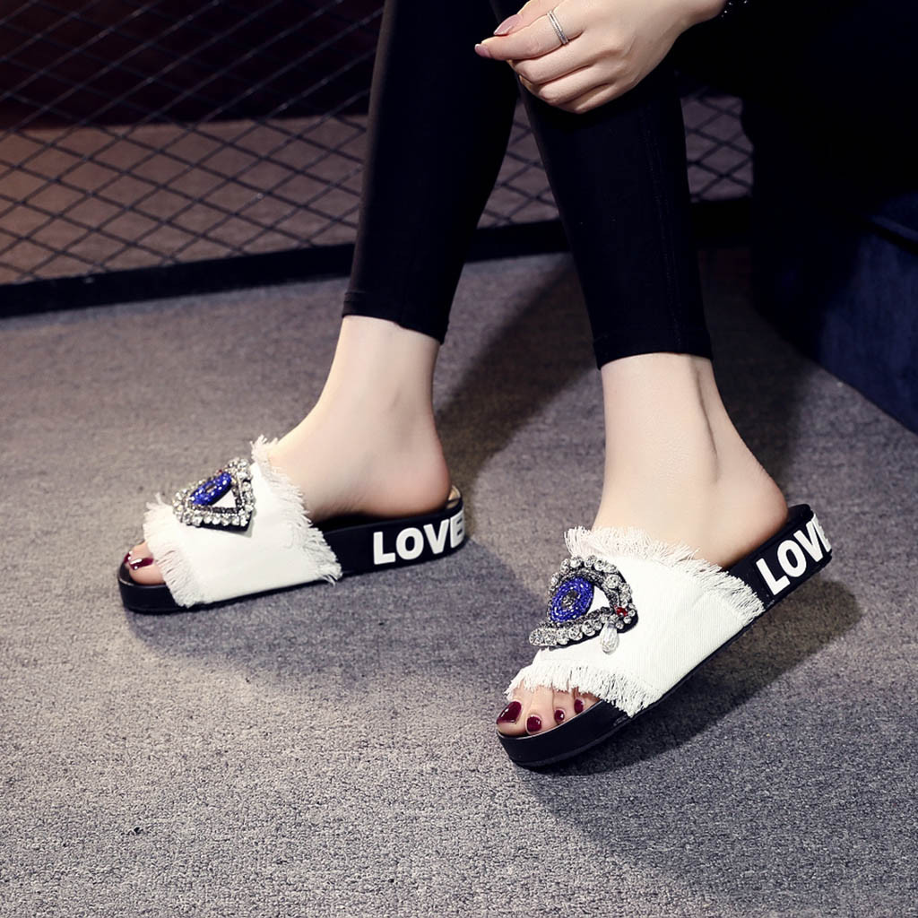 Womens Slipper Summer Beach Casual Shoes Fashion Casual Square Toe Crystal Outdoor Shoes Flip Flops