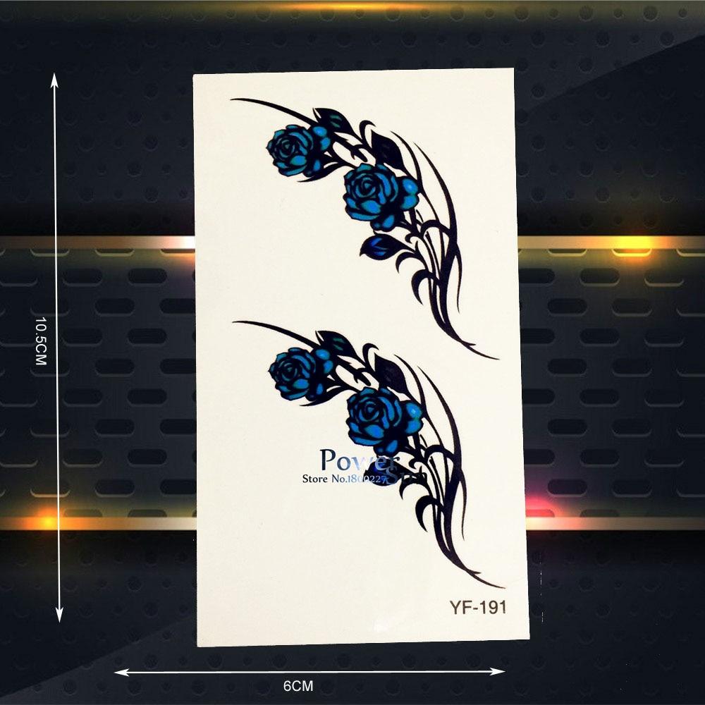 Bunga Mawar Stiker Tato Temporer Seni Tubuh Wanita Lengan Anak