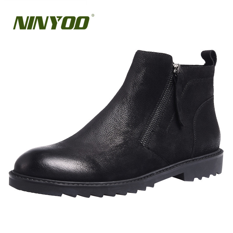 NINYOO New Classic Men Chelsea Boots Genuine Leather Boots Wearproof Ankle Work Boots Black Zipper Nubuck Boots Martens Shoes 44