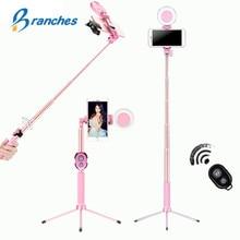 1.7 m 확장 가능한 라이브 삼각대 selfie 스틱 led 링 라이트 스탠드 4 1 monopod 전화 마운트 아이폰 x 8 안드로이드 스마트 폰