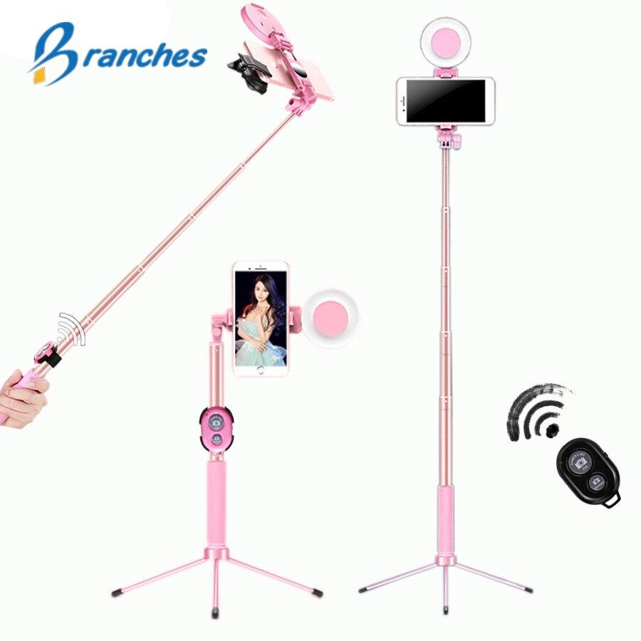 1,7 mt Erweiterbar live Stativ Selfie Stick LED Ring licht Stehen 4 in 1 Mit Einbeinstativ Telefon Halterung für iPhone X 8 Android SmartPhone