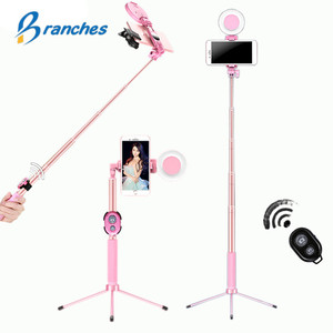 Image 1 - 1.7m Extendable live Tripod Selfie Stick LED Ring light Stand 4 in 1 With Monopod Phone Mount for iPhone X 8 Android SmartPhone