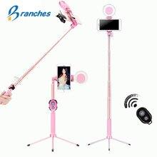 Trípode extensible en vivo de 1,7 m, palo de Selfie, anillo de luz LED, soporte 4 en 1 con monópode para teléfono iPhone X 8, Android y SmartPhone