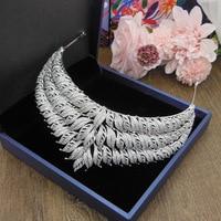 Luxury Zircon Princess Crown Leaf Wedding Tiara CZ Tiaras And Crowns Bridal Headband Diademe Couronne Mariage Bijoux WIGO1393