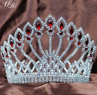 Queen Wedding Bridal Tiaras Full Large Crowns 5 Red Rhinestones Crystal Diadem Miss Pageant Party Costumes Hair Accessories