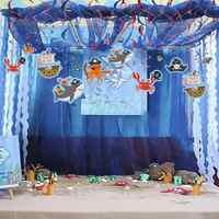 Морские животные Акула спираль из фольги украшения на день рождения пиратский подводный мир океан море тема вечерние мальчик декор для веч...