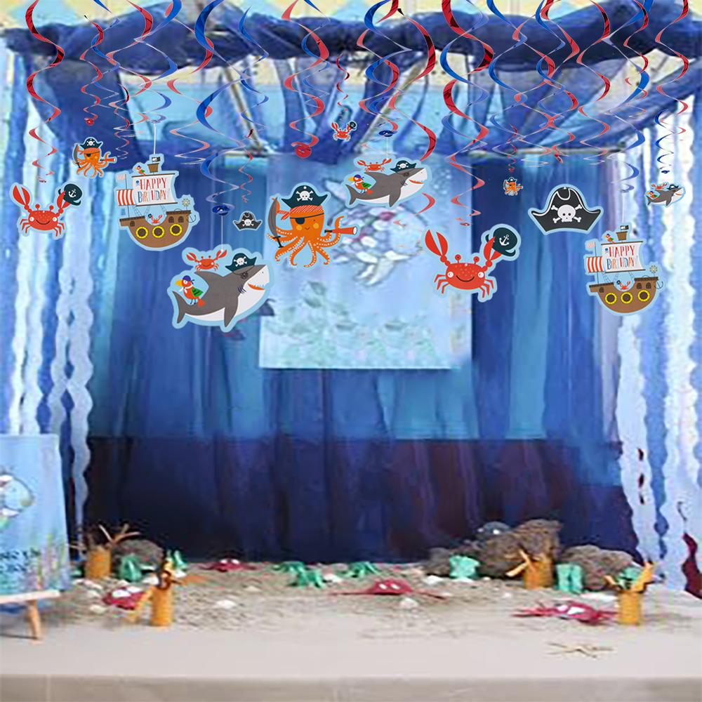 Shark Marine Animals Foil Swirl Kids Birthday Decorations Pirate Submarine Photo Props Sea Theme Party Boy Birthday Party Decor